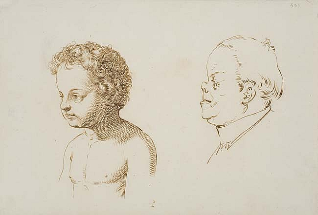 GIUSEPPE SABATELLI (Milan 1813-1843 Florence) Studies of a Young Boy and a Man in Profile to the Left.