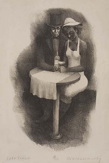 ROBERT BLACKBURN (1920 - 2003) Café Scene.