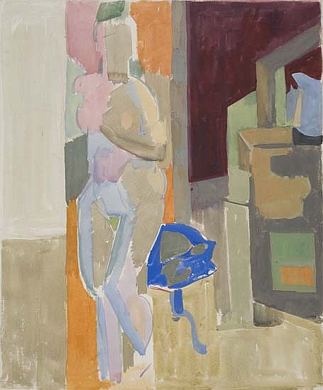 ROBERT BLACKBURN (1920 - 2003) Nude in Studio Interior.