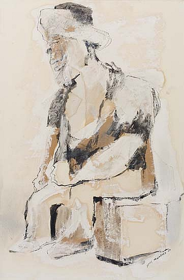 BENNY ANDREWS (1930 - 2006) Seated Figure.