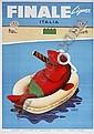 POSTER - MARIO PUPPO FINALE LIGURE. 1954. 39x27 inches. Saiga, Genova., Mario Puppo, Click for value