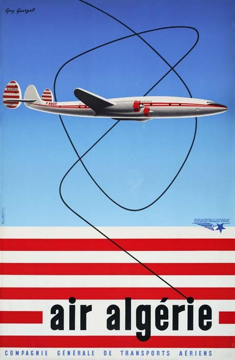 POSTER - GUY GEORGET AIR ALGERIE. 39x25 inches. Aljanvic, Paris.