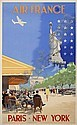 POSTER - VINCENT GUERRA AIR FRANCE / NEW YORK. Circa 1950. 39x24 inches. Alepee et Cie., Paris., Vincent Guerra, Click for value