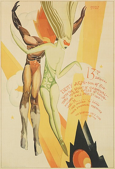 JOSEPH W. JICHA (1901-1960). 13TH DESCENT / KOKOON CLUB. 1926. 30x20 inches, 76x52 cm. Otis Litho Co., Cleveland.