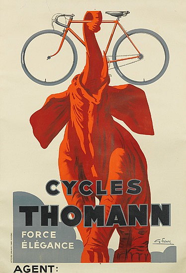 G  FAVRE (DATES UNKNOWN)  CYCLES THOMANN  46x31 inches, 117x