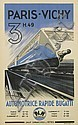 EMIL ANDRE SCHEFER (1876-1942). PARIS-VICHY / AUTOMOTRICE RAPIDE BUGATTI. 1935. 39x24 inches, 100x61 cm. Chaix, Paris.