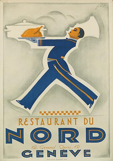 NOEL FONTANET (1898-1982). RESTAURANT DU NORD / GENÈVE. Circa 1930. 50x35 inches, 127x90 cm. Sonor.