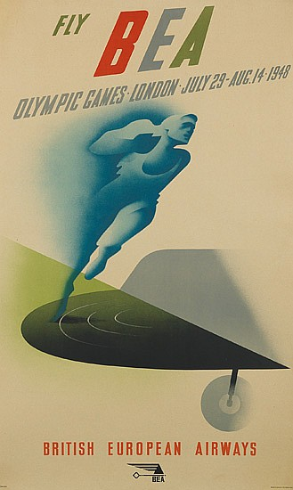 ABRAM GAMES (1914-1996). FLY BEA / OLYMPIC GAMES. 1948. 40x23 inches, 102x60 cm. [Baynard Press, London.]