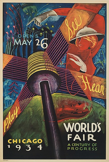 SANDOR (ALEXANDER RAYMOND KATZ, 1895-1974). CHICAGO WORLD'S FAIR. 1934. 39x26 inches, 100x67 cm. Goes Litho.