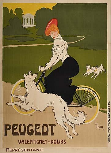 Poster: WALTER THOR (1870-1929) PEUGEOT. Circa 1900. 57 x 41