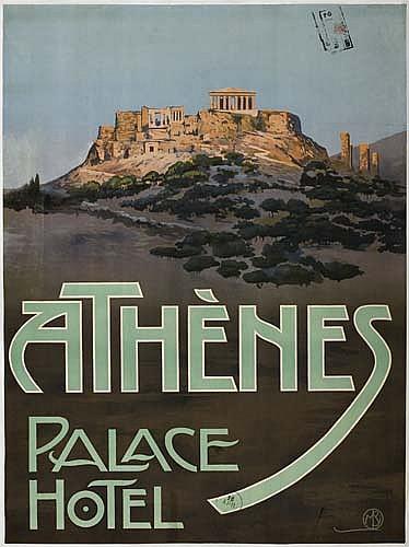 Poster: MARIO BORGONI (1869-1936) ATHENES PALACE HOTEL. 44 x