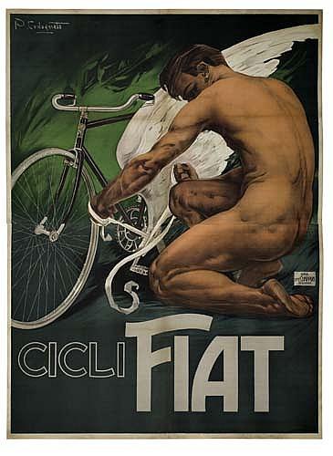 Poster: PLINIO CODOGNATO (1878-1940) CICLI FIAT. Circa 1910.