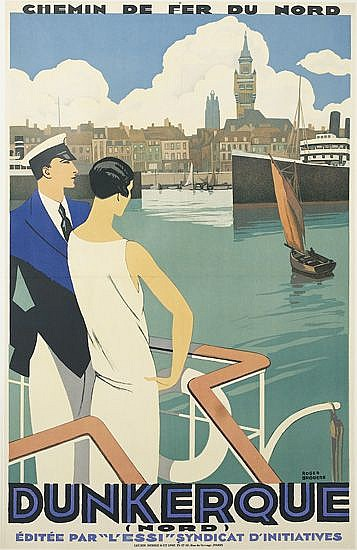 ROGER BRODERS (1883-1953). DUNKERQUE. Circa 1930. 39x24 inches, 100x63 cm. Lucien Serre, Paris.