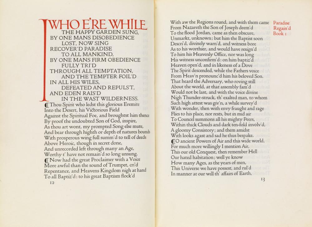 (DOVES PRESS / ASHENDENE PRESS.) Milton, John. Paradise Regain''d.