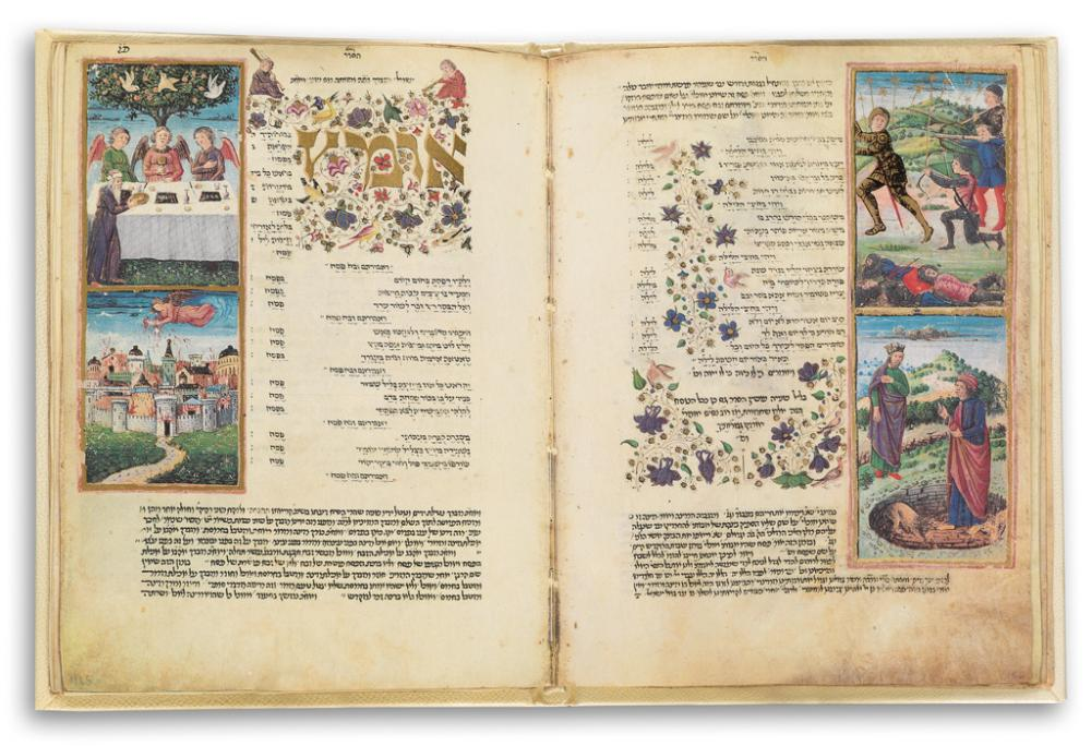 (MANUSCRIPTS and MANUSCRIPT REFERENCE.) The Rothschild Haggadah. A Passover Compendium from the Rothschild Miscellany.