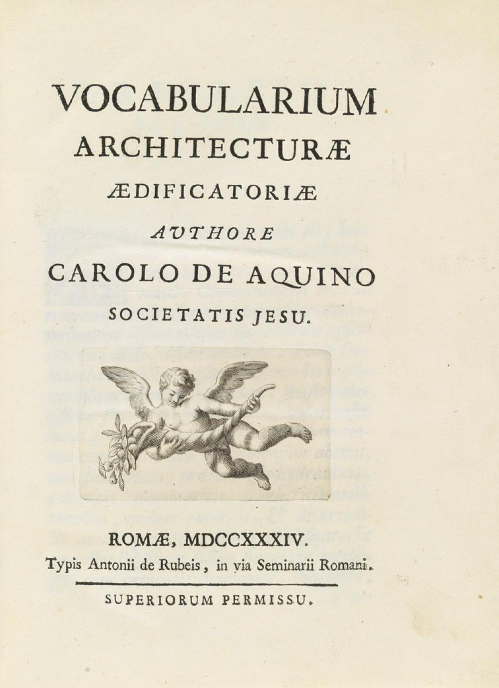 (ARCHITECTURE.) Aquino, Carolo De. Vocabularium Architecturae.
