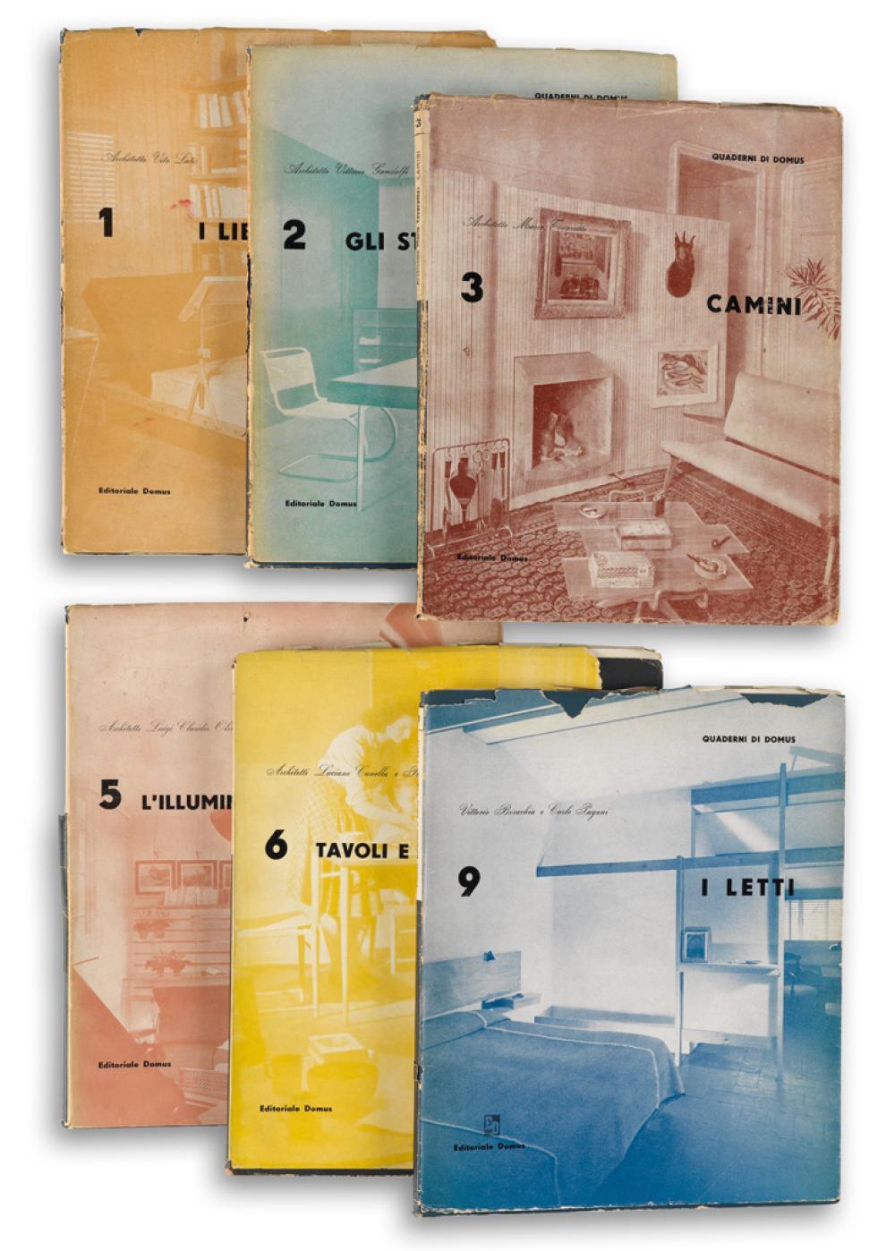(DESIGN.) Bo, Lina; and Carlo Pagani; editors. Quaderni di Domus. Group of 6 volumes.