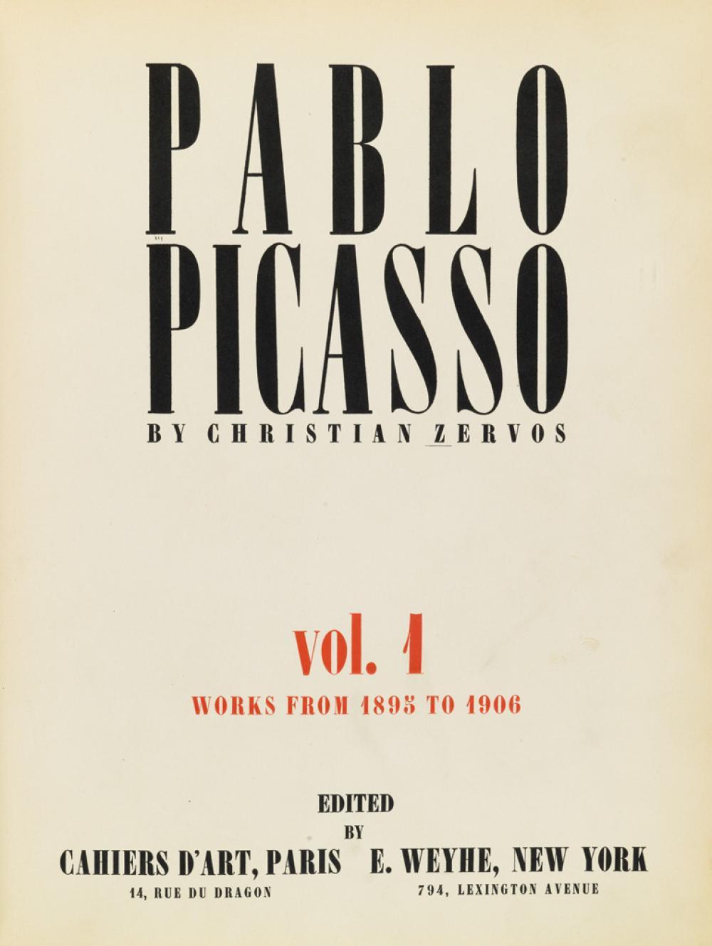(PICASSO, PABLO.) Zervos, Christian. Picasso Oeuvres de 1895-1972.
