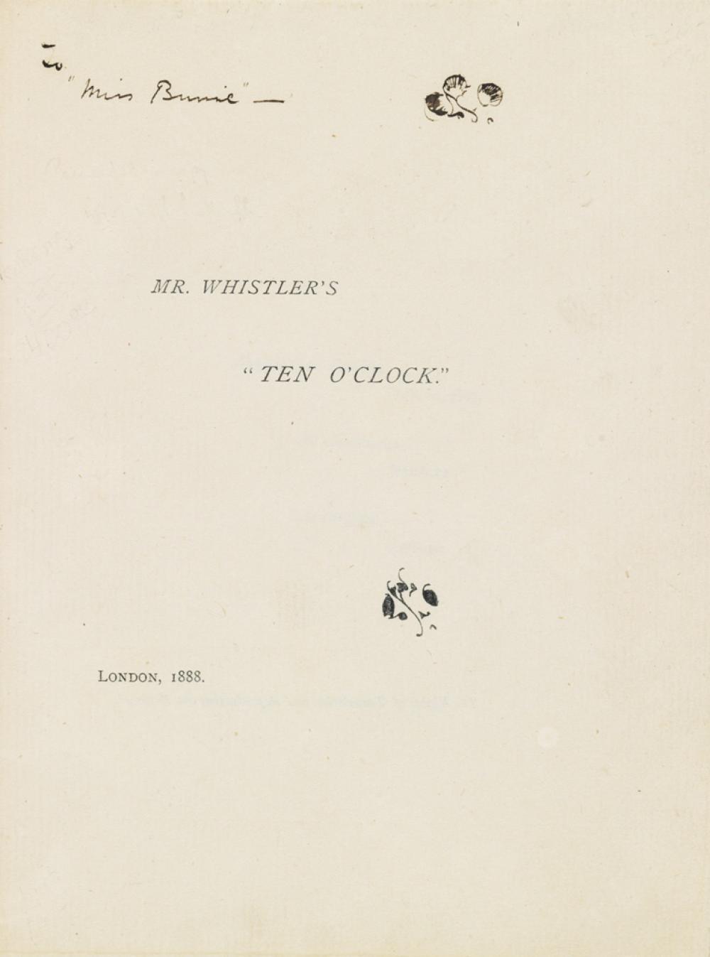 WHISTLER, JAMES McNEILL. Mr. Whistler''s