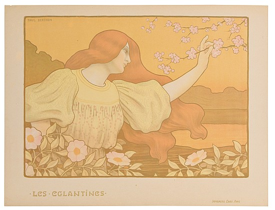 PAUL BERTHON (1872-1909). LES EGLANTINES. 1900. 18x25 inches, 47x63 cm. Chaix, Paris.