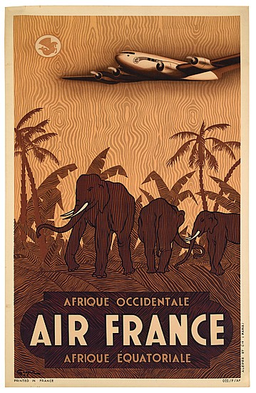 VINCENT GUERRA (DATES UNKNOWN). AIRFRANCE / AFRIQUE OCCIDENTALE. 1946. 39x24 inches, 100x61 cm. Alepee & Cie., Paris.