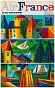 VARIOUS ARTISTS. AIR FRANCE. Group of 4 posters. Circa 1963. Each approximately 39x24 inches, 99x61 cm., Guy Georget, Click for value