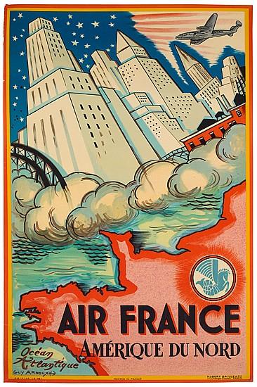 GUY ARNOUX (1890-1951). AIR FRANCE / AMÉRIQUE DU NORD. 1946. 38x24 inches, 98x61 cm. Hubert Baille & Cie., Paris.
