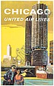 TOM HOYNE (DATES UNKNOWN). CHICAGO / UNITES AIR LINES. 40x25 inches, 102x63 cm., Thomas Maclay Hoyne, Click for value
