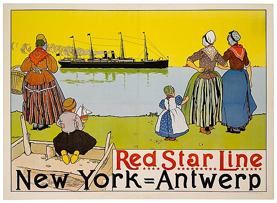 HENRI CASSIERS (1858-1944). RED STAR LINE / NEW YORK - ANTWERP. 1899. 32x44 inches, 82x113 cm. Sackell & Wilhelms Litho & Ptg. Co., New