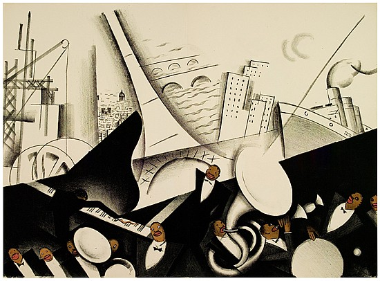PAUL COLIN (1892-1985). LE TUMULTE NOIR. Portfolio with 22 plates, chemise and original printed wrappers. 1927. Each plate approximatel