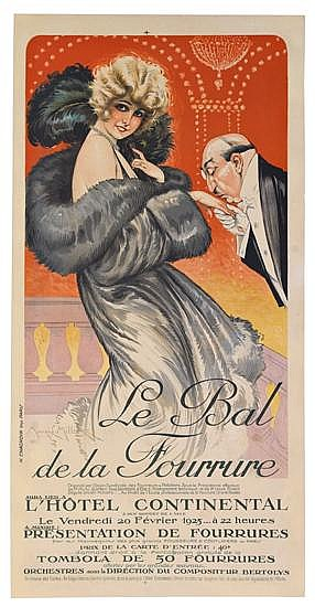 MAURICE MILLIÈRE (1871-1946). LE BAL DE LA FOURRURE. 1925. 40x20 inches, 102x51AF1/2 cm H. Chachoin, Paris.