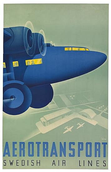 ANDERS BECKMAN (1907-1967). AEROTRANSPORT / SWEDISH AIR LINES. 1935. 39x24 inches, 99x62 cm. Iduns Tr. Esselte, Sthlm.