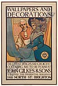 CONRAD H. LEIGH (1883 - ?). WALLPAPERS AND DECORATIONS / JOHN GILKES & SONS. 46x31 inches, 118x79 cm. J. J. Keliher & Co., Ltd., Litho., Conrad Leigh, Click for value