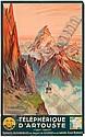 E. PAUL CHAMPSEIX (DATES UNKNOWN). TEÉLÉPHÉRIQUE D'ARTOUSTE. 1937. 24x39 inches, 62x99 cm. Lucien Serre & Cie, Paris., E. Paul Champseix, Click for value
