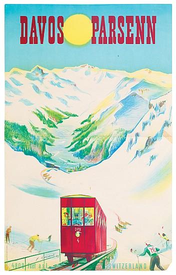 PIERRE MONNERAT (1917 - ). DAVOS / PARSENN. 1947. 39x25 inches, 100x63 cm. Fretz Bros. Ltd., Zurich.