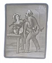(CURIOSA.) Six bisque porcelain lithophane plates with erotic subjects.