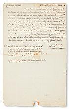 (SLAVERY AND ABOLITION.) [THOMAS JEFFERSON] PARRISH, JOHN. Autograph Letter Signed to William Jones.