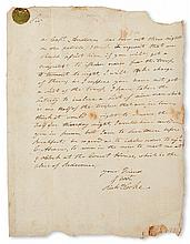 (SLAVERY AND ABOLITION--MOUNT VERNON.) [WASHINGTON, JOHN AUGUSTINE.] Letter concerning assistance to be provided for Captain John Amble