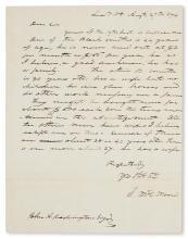 (SLAVERY AND ABOLITION--MOUNT VERNON.) [WASHINGTON, JOHN AUGUSTINE.] Letter from slave dealer L.M.D. Moore regarding two black smiths a