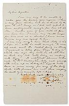 (SLAVERY AND ABOLITION--MOUNT VERNON.) FORD, WEST. A letter from Mrs. M. B. Selden to John A. Washington, carried by West Ford, and sig
