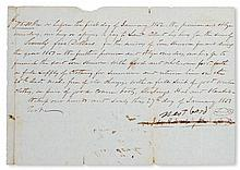 (SLAVERY AND ABOLITION--MOUNT VERNON.) FORD, WEST. Slave hire for the year 1852, signed by West Ford for Mount Vernon; Also signed by J