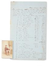 (SLAVERY AND ABOLITION---MOUNT VERNON.) [MITCHELL, JIM.] List of Property Stolen by Union Troops, including slaves.