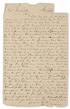 """(SLAVERY AND ABOLITION---MOUNT VERNON.) GOLDING, THOMAS. Letter addressed to """"Col. Washington. . . yours in haste."""""""