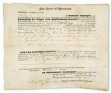 (SLAVERY AND ABOLITION.) MARYLAND. Manumission and emancipation certificate for Margaret Tillison.