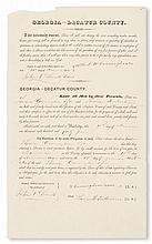 (SLAVERY AND ABOLITION--GEORGIA.) CUNNINGHAM, GEORGE. Partially printed document accomplished by hand, being a license to sell wines an