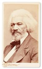 (SLAVERY AND ABOLITION.) DOUGLASS, FREDERICK. Carte-de-visite photograph of the great statesman, orator and writer.