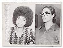(BLACK PANTHERS--ANGELA DAVIS.) Group of 26 press photographs, showing the arrest of Davis, her trial and subsequent release, in chrono