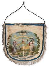 (FRATERNAL--ODD FELLOWS.) Grand United Order of Odd Fellows apron (similar to that used by Masons), with a chromolithograph on silk, sh