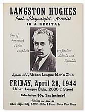 (LITERATURE AND POETRY.) HUGHES, LANGSTON. Langston Hughes, Poet, Playwright, Novelist, in a Recital . . . Sponsored by Urban League Ma