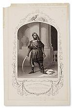(MUSIC AND THEATRE.) ALDRIDGE, IRA. Group of four engravings depicting the famous black Shakespearean actor in several roles, together